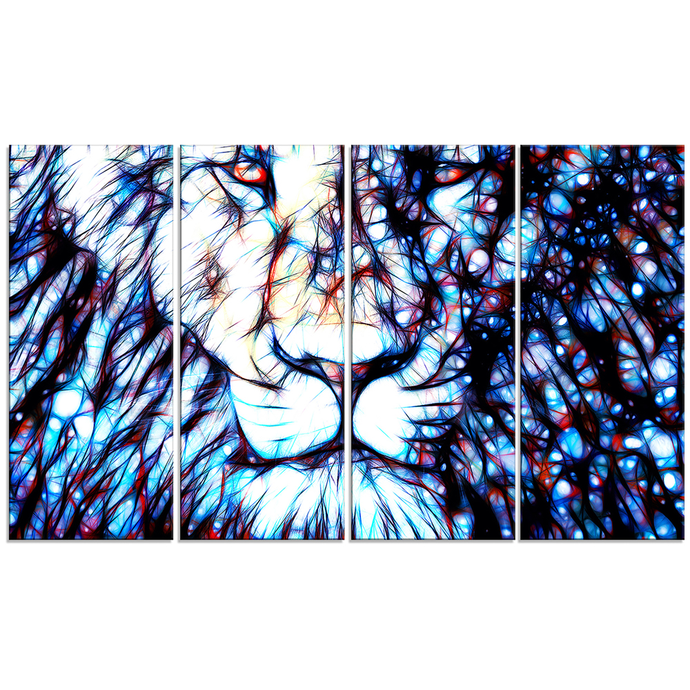 Leader of the Pack – Lion Art on Canvas – 60×32 – 5 Piece ...