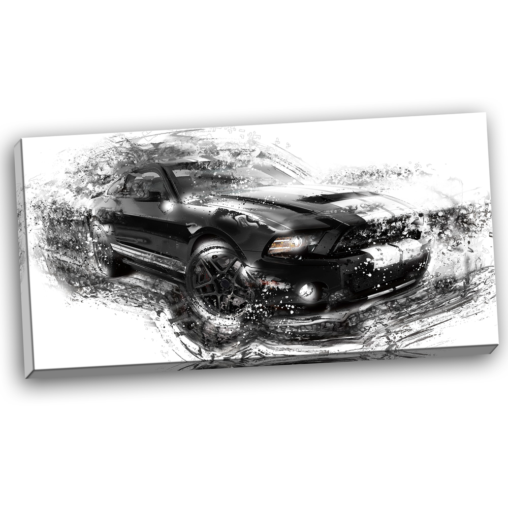 Black And White Muscle Car Pt2650 Finecraft Art