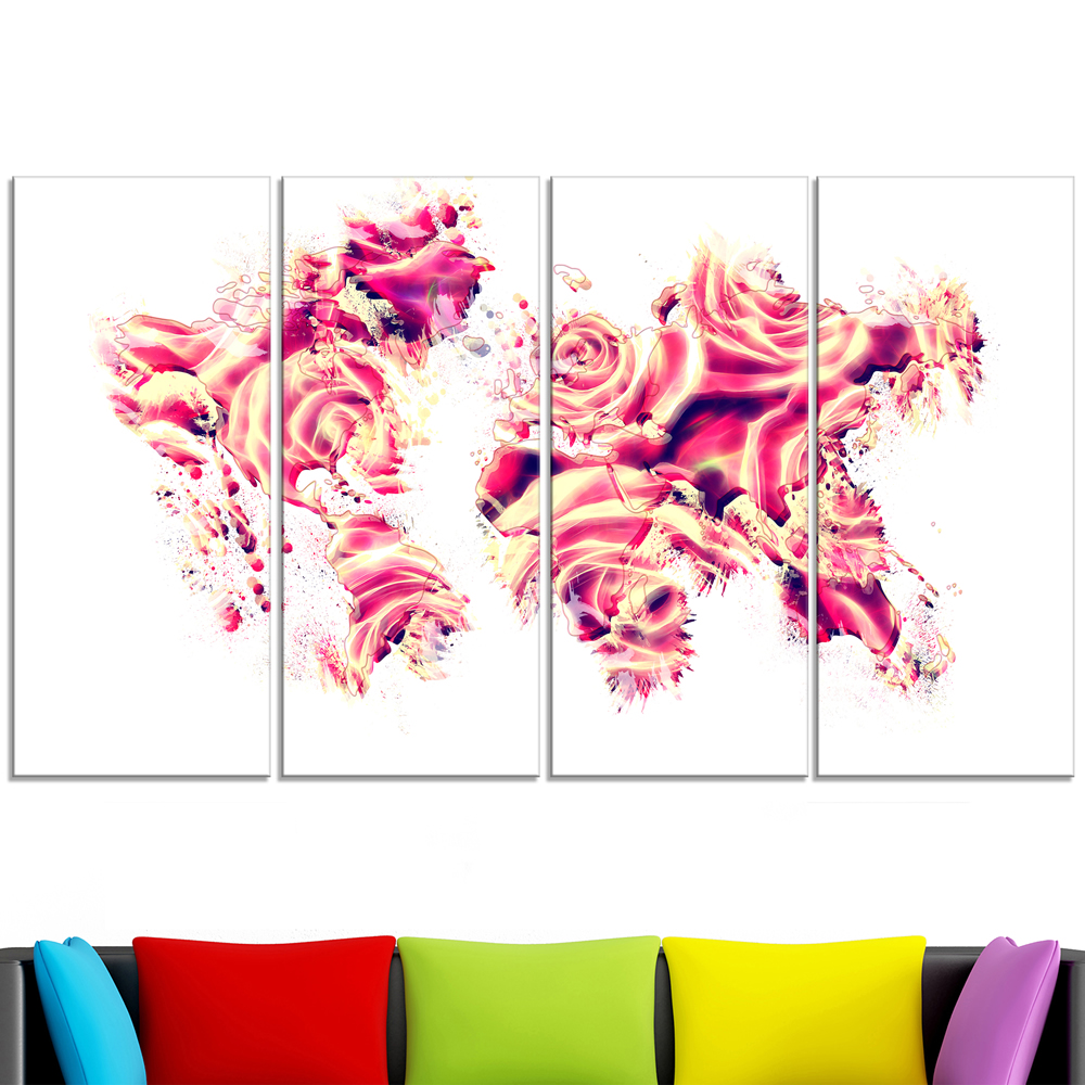 Roses of the world map canvas art pt2731 finecraft art roses of the world map canvas art pt2731 gumiabroncs Gallery